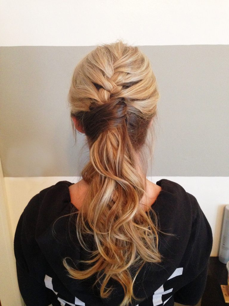 French Braided Ponytail - Blond Hair