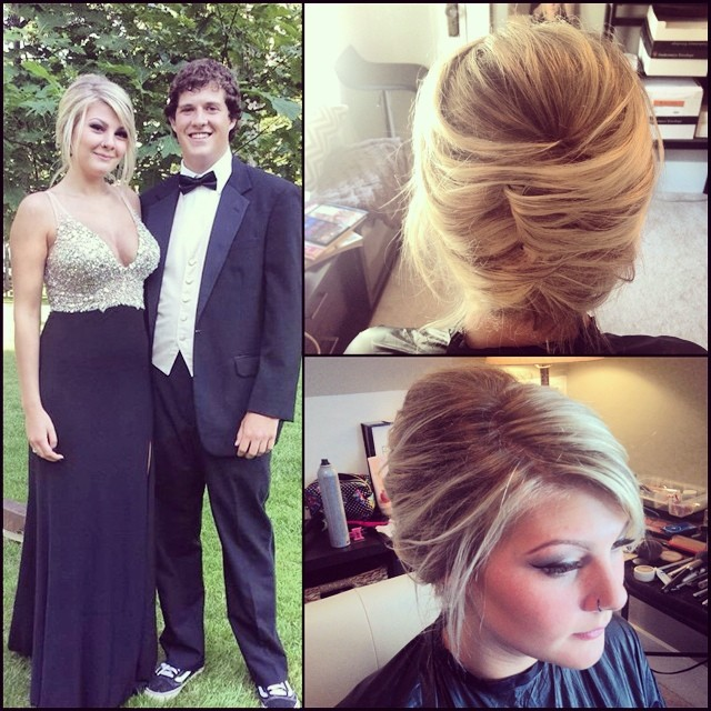 One if my favorite updos, simple and classy on the beautiful @krrystalmeth  #teaseandmakeup #hairstylist #hairstyle #updo #blonde #blondehair #messy #loose #love #ball #style