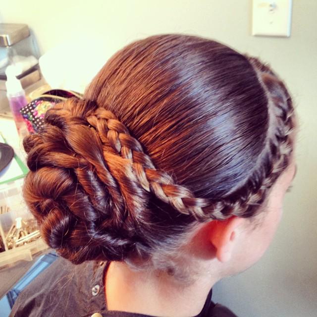 Flower girl's Hairstyle from today's wedding #teaseandmakeup #hairstyle #bridalparty #flowergirl #braids #braid #sleek #bun