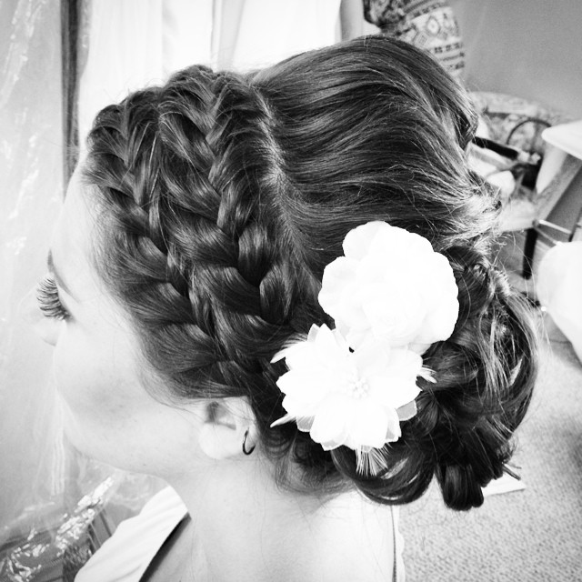 Double braided Bridal style from this past weekends rustic wedding at Hayloft on the Arch #teaseandmakeup #makeupartist #hairstylist #bridalhair #bridal #braid #doublebraid #brunette #bride #rustic #lowbun