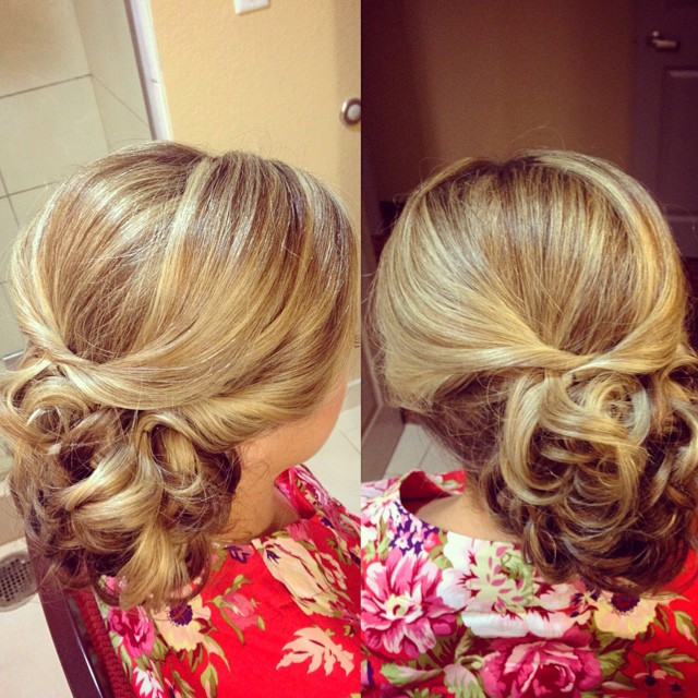 Bridesmaid Updo From Todays Wedding Party Low Loosely Curled Bun
