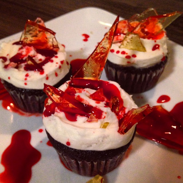 "Happy Halloween  ""Bloody Glass Shard"" cupcakes#halloween #halloweencupcakes #bloody #glass #happyhalloween"