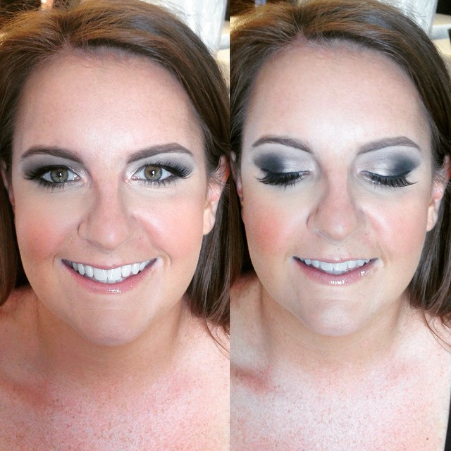 One of my gorgeous bridesmaids from today! She requested a satin smokey eye with faux lashes and a full face with a natural lip  #teaseandmakeup #makeup #mua #makeupartist #smokeyeye #falsies #faux lashes #greeneyes #mac #maccosmetics #urbandecay #makeupforever #buxom